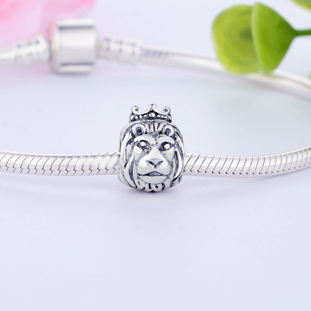 100% 925 Sterling Silver Lion head Charm For DIY Jewelry