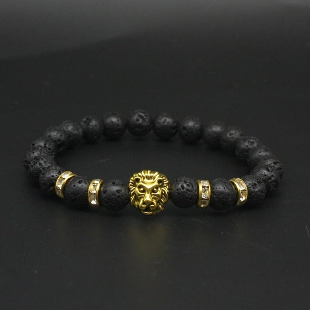 'Unisex' Black Lava Stone Bracelet With Gold-Tone Lion Head & Four Spacers
