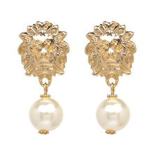 Load image into Gallery viewer, Vintage Gold Metal Lion Head Earrings With Large Simulated Pearls -- Highly Elegant!