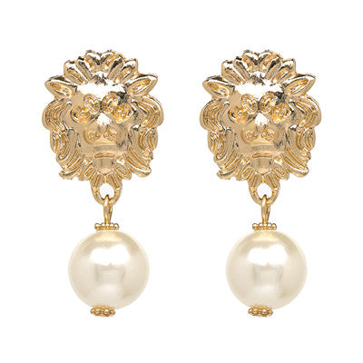 Vintage Gold Metal Lion Head Earrings With Large Simulated Pearls -- Highly Elegant!