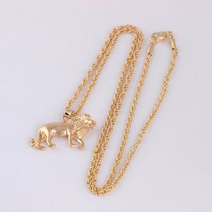 Shiny Bright & Happy Golden Lion Pendant & Chain