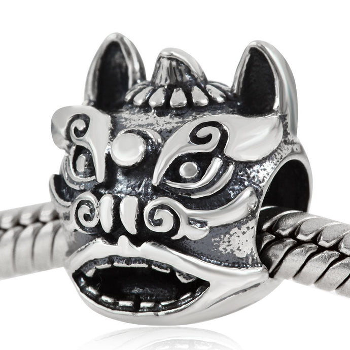 Very Unique 100% 925 Sterling Silver Lion Charm Bead To Fit DIY Jewelry