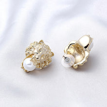 Load image into Gallery viewer, Very Striking 24K Gold Plate Lion Stud Earrings With Simulated Pearls