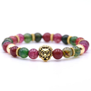 'HOT SELLING' Classic Colorful And Happy Natural Stone Lion Charm Bracelet