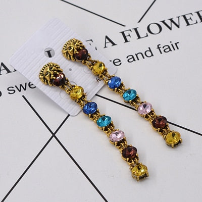 Multi-color Vintage Lion Head Rhinestone Crystal Dangling Earrings -- VERY HOT!
