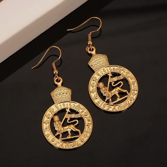 Eye Catching 'Ethiopia' Lion Loop Earrings -- Stunning!