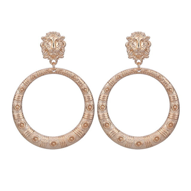 Nice Large and Highly Impressive Round Zinc Antique Gold Tone Drop Earrings