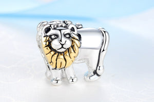 New European Fashion Gold Tone Lion With Silver Plate To Fit DIY Bracelets
