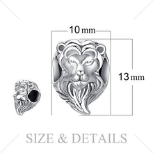 Load image into Gallery viewer, Brave Heart '925 Sterling Silver' Lion Head Charm Beads For 'DIY' Bracelets