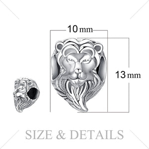 Brave Heart '925 Sterling Silver' Lion Head Charm Beads For 'DIY' Bracelets