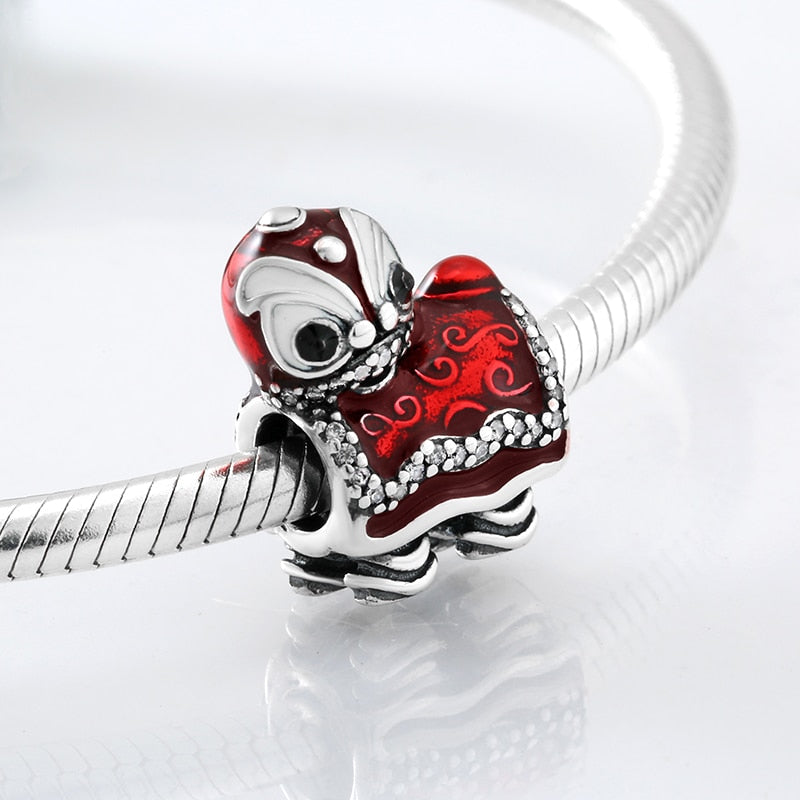 Chinese Blessing Lion Red Good Luck Charm In '925 Sterling Silver' To Fit 'DIY' Bracelets