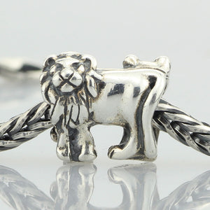 Genuine 925 Sterling Silver Lion Charm Bead to Fit European DIY Jewelry