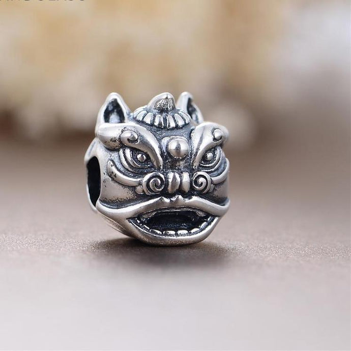 Scary Little Chinese Lion Fairy Bead In 925 Sterling Silver Which Fits DIY Jewelry