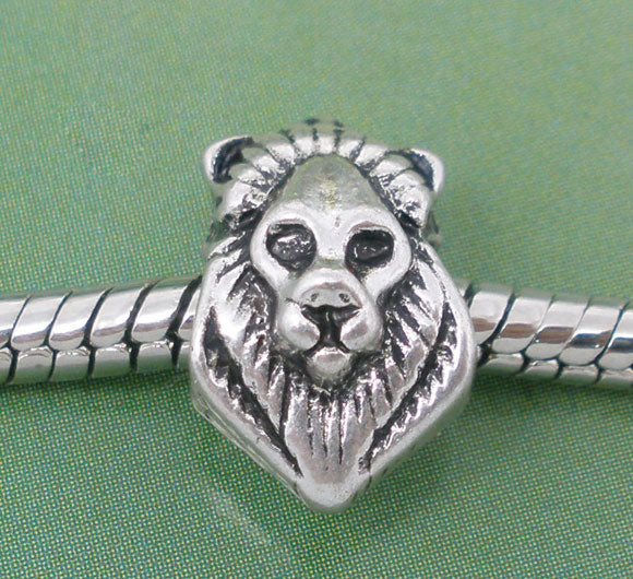 Beautiful European Lion Charm In Lovely Antique Silvertone Finish
