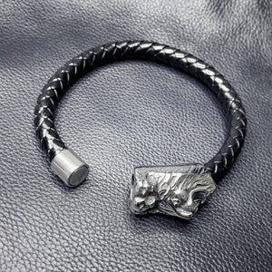 Men's  Handmade Braided Black Genuine Leather & Stainless Steel Lion Pendant Wrist Band