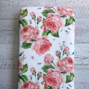 Fitted cot sheet - floral white