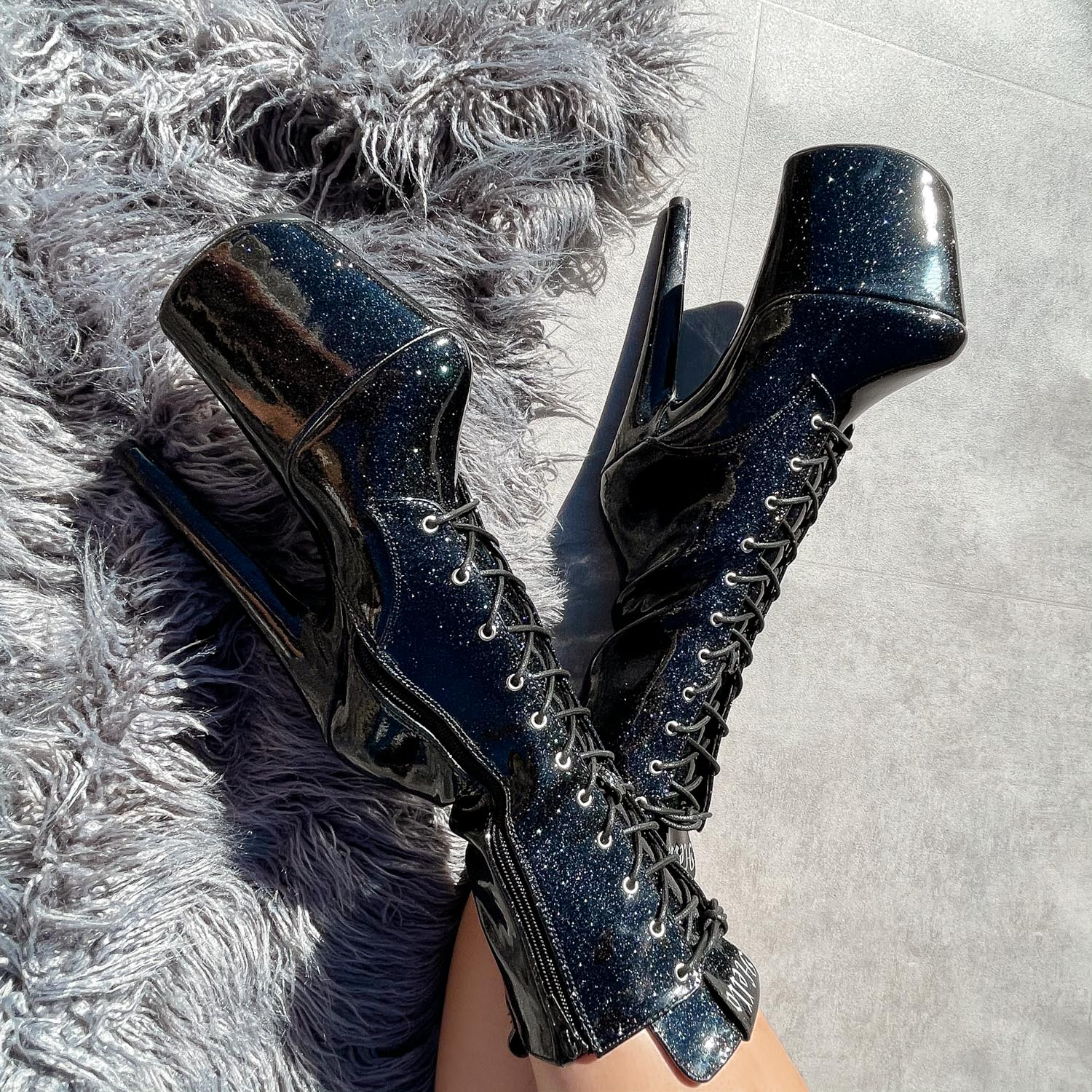 The Glitterati Boot - Sin City - 8 INCH