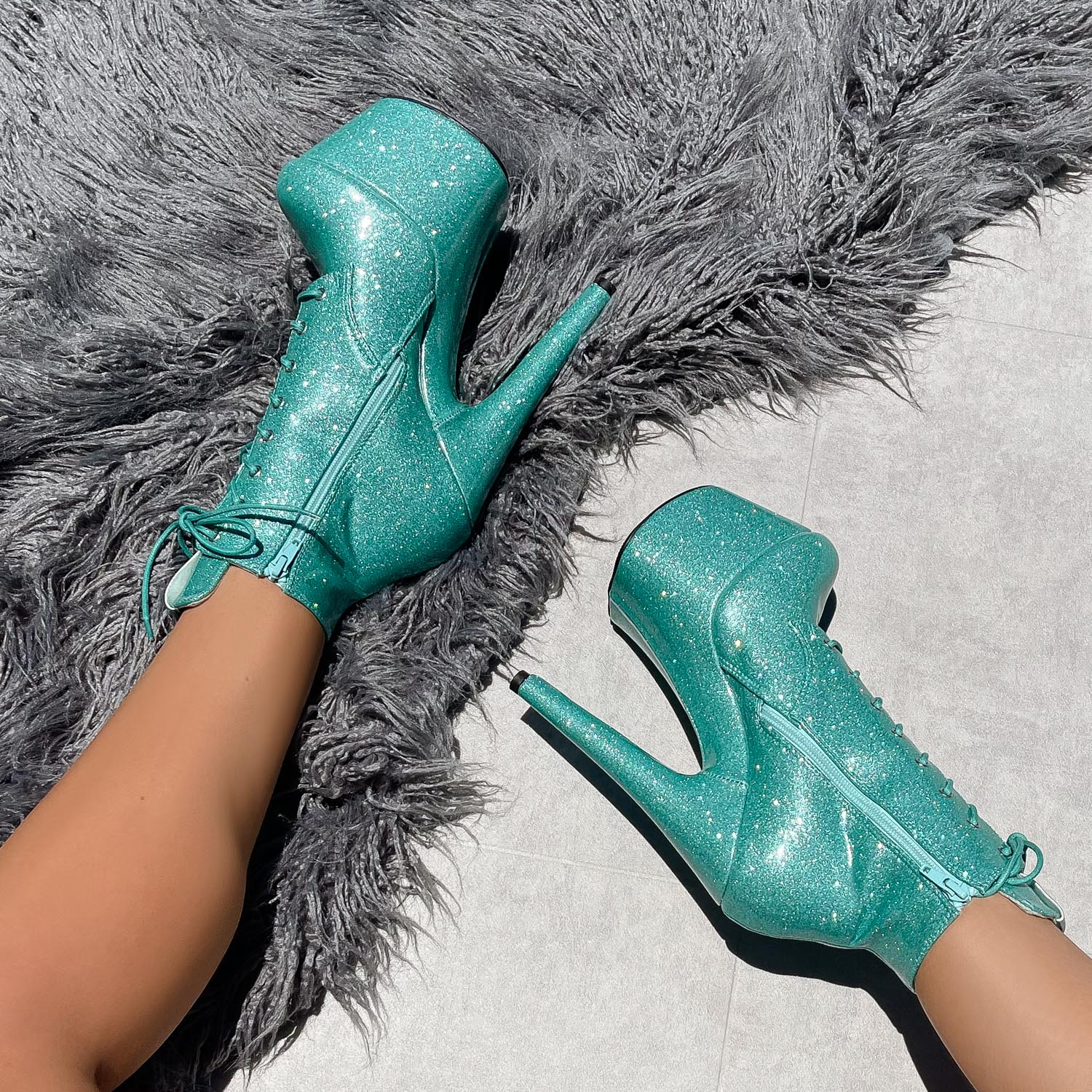 The Glitterati Ankle Boot - Baby Blues - 7 INCH