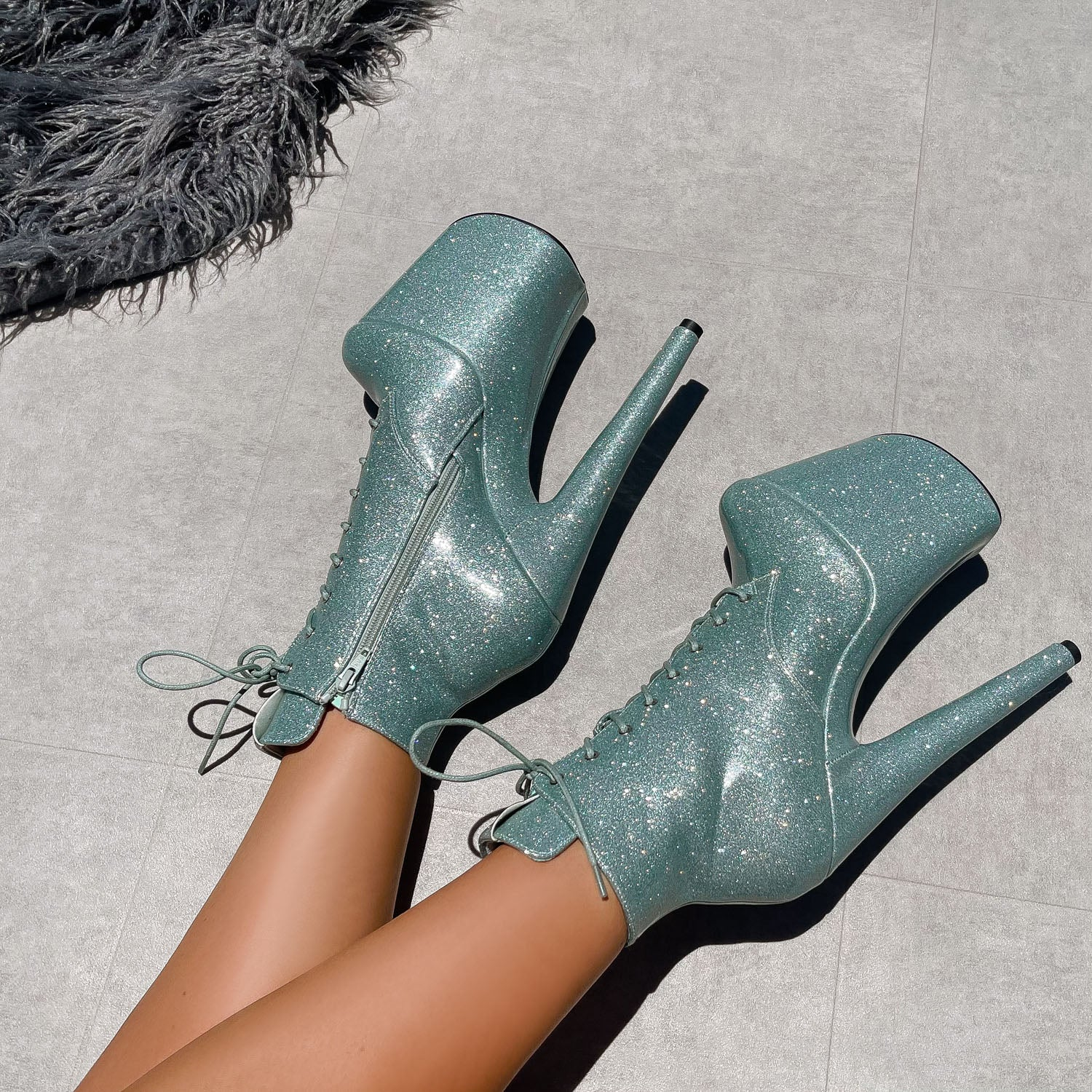 The Glitterati Ankle Boot - Ice Ice Baby - 8 INCH
