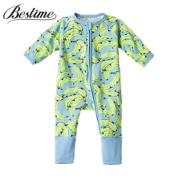 Popular Baby Clothing Infant Boys Girls Bodysuit Long Sleeve Zipper Onesie Spring Autumn Bananas Newborn Clothes - 1sies