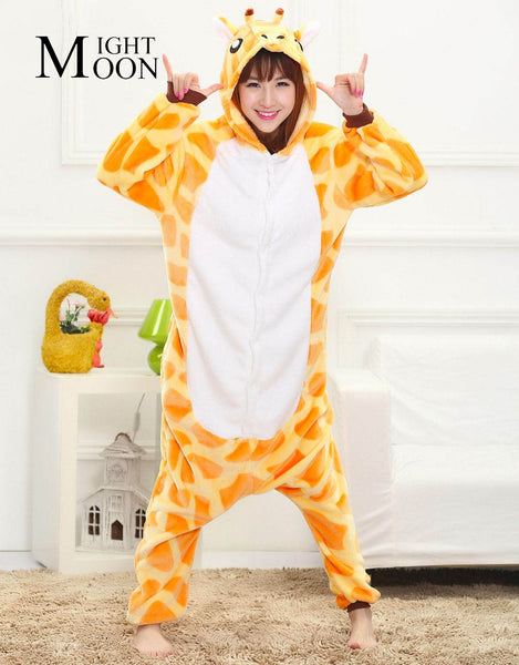 MOONIGHT Animal Pajamas Cute Giraffe Unisex Pijama Flannel Pyjamas Women Sleep Tops Cosplay Costume Onesies Robe - 1sies