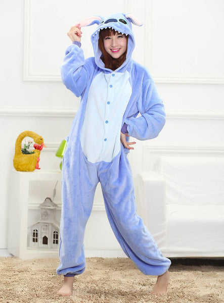MOONIGHT Pink Stitch Animal Pajamas Unisex Pijama Flannel Pyjamas Women Sleep Tops Cosplay Costume Onesies Robe - 1sies