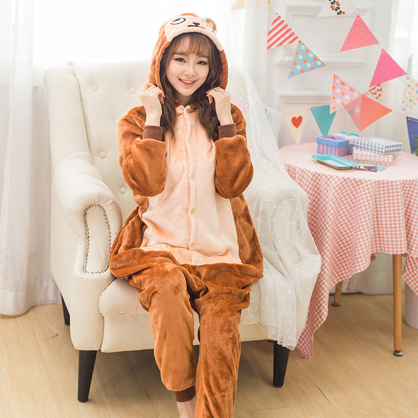 Brown Monkey Animal Pajamas Unisex Adult Pajamas Flannel Pajamas Winter Garment Cute Cartoon Animal Onesies Pyjamas Jumpsuits - 1sies