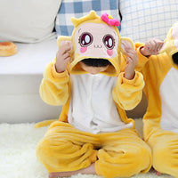 YoCi Monkey Children Kids Boys Girls Pajamas Animal Pajamas Flannel Pajamas Winter Cartoon Animal Onesies Pyjamas - 1sies