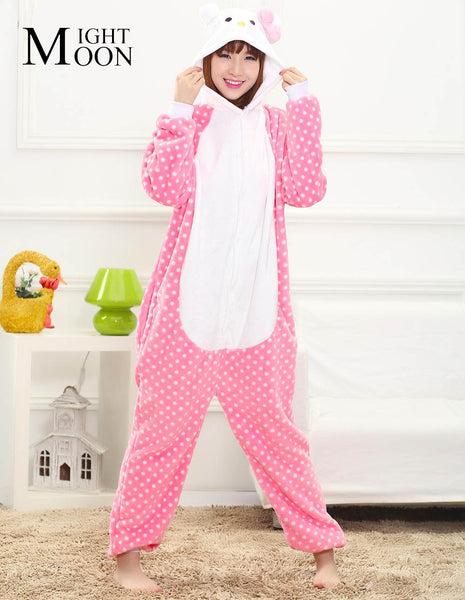 MOONIGHT Animal Pajamas Hello Kitty Unisex Pijama Adults Flannel Pyjamas Women Sleep Tops Cosplay Costume Onesies Robe - 1sies