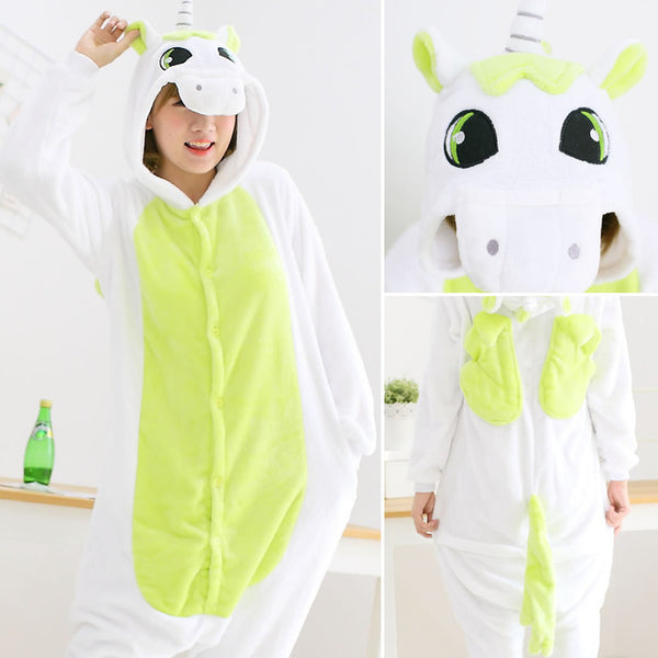Green Adult Unicorn Pajamas Unicorn Onesies Animal Pajamas Onesies Adult Animal Onesies Pajamas Women Men Christmas Pajamas - 1sies