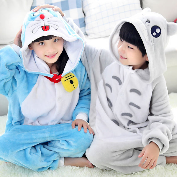 Totoro Doraemon Pajamas Children Kids Boys Girls Pajamas Animal Pajamas Flannel Pajamas Winter Cartoon Animal Onesies Pyjamas - 1sies