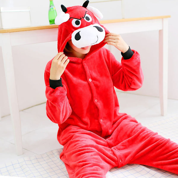Red Bull Animal Pajamas Unisex Adult Pajamas Flannel Pajamas Winter Garment Cute Cartoon Animal Onesies Pyjamas Jumpsuits - 1sies