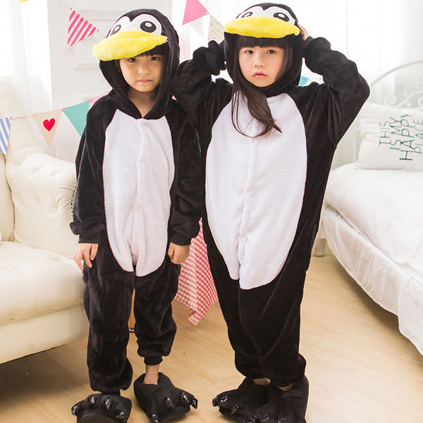 Penguin Pajamas Children Kids Boys Girls Pajamas Man Animal Pajamas Chrismas Flannel Pajamas Winter Cartoon Animal Onesies - 1sies