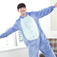 Blue Pink Stitch Animal Pajamas Unisex Adult Pajamas Flannel Pajamas Winter Garment Cute Cartoon Animal Onesies Pyjamas Jumpsuit - 1sies