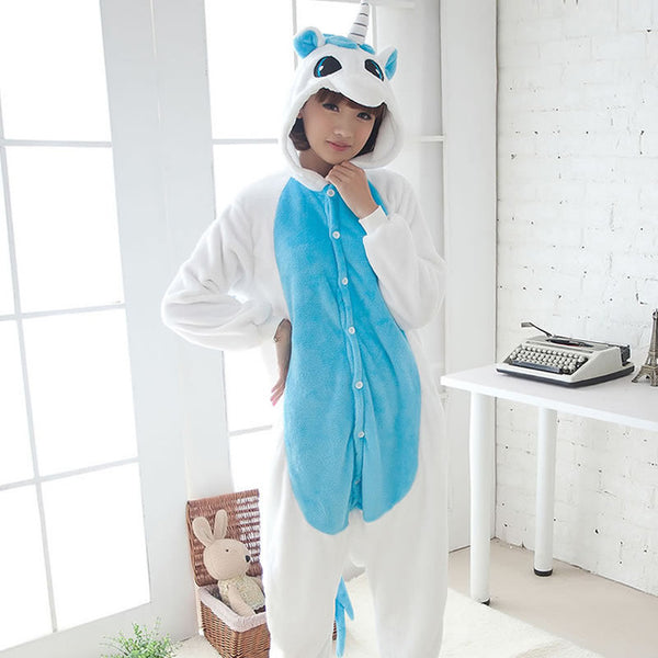 Blue Adult Unicorn Pajamas Unicorn Onesies Animal Pajamas Onesies Adult Animal Onesies Pajamas Women Men Christmas Pajamas - 1sies