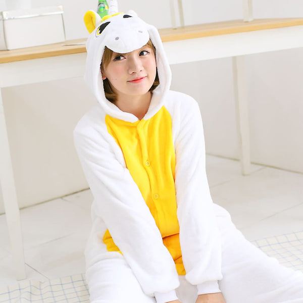 Yellow Adult Unicorn Pajamas Unicorn Onesies Animal Pajamas Onesies Adult Animal Onesies Pajamas Women Men Christmas Pajamas - 1sies