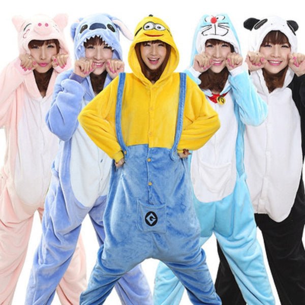 Animal Pajamas Unisex Adult Pajamas Women Men Flannel Pajamas Winter Garment Cute Cartoon Animal Onesies Pyjamas Jumpsuits - 1sies