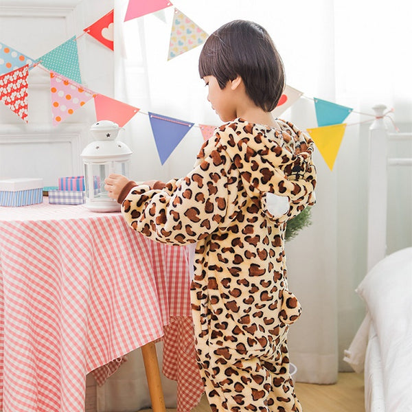 Leopard Print Bear Pajamas Children Kids Boys Girls Pajamas Animal Pajamas Chrismas Flannel Pajama Winter Cartoon Animal Onesies - 1sies