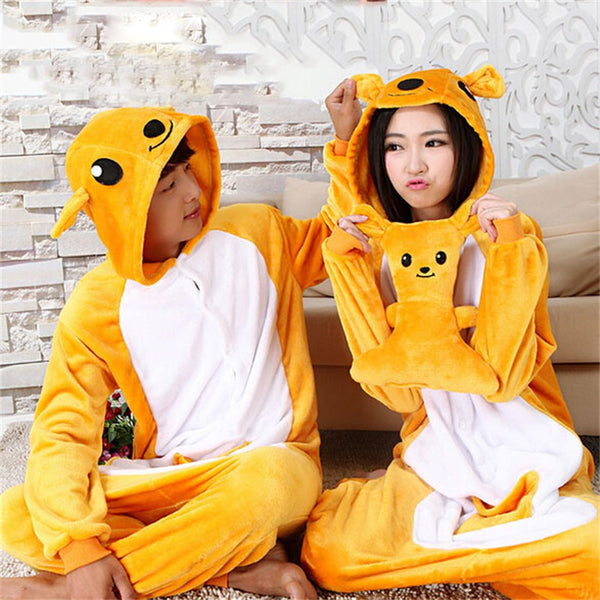 Animal Cartoon Onesie Pajama Women Adult Kangaroo Cosplay Costume Winter Warm Flannel Home Wear Unisex Party Funny Sleepwear - 1sies