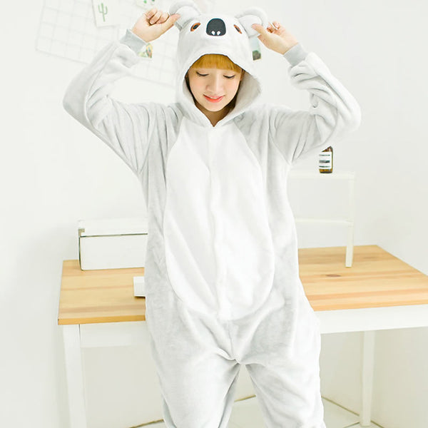 Koala Animal Pajamas Unisex Adult Pajamas Flannel Pajamas Winter Garment Cute Cartoon Animal Onesies Pyjamas Jumpsuits - 1sies