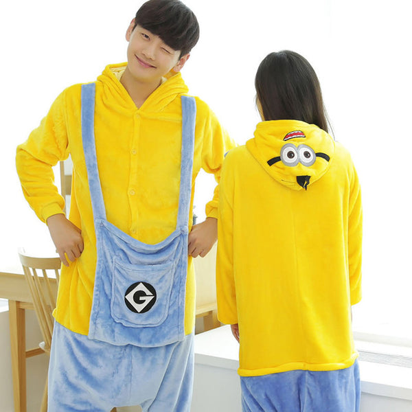 Minions Animal Pajamas Unisex Adult Pajamas Suits Flannel Pajamas Winter Garment Cute Cartoon Animal Onesies Pyjamas Jumpsuits - 1sies