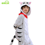 EOICIOI New Hooded Children Pajamas Winter Flannel Cartoon Cat   Kids Boys Girls Pijamas Baby Cosplay Pyjamas Sleepwear Onesies - 1sies