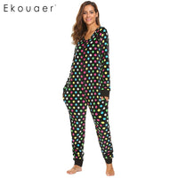 Ekouaer Women Pajamas Long Sleeve V-Neck Fleece Onesie Sleepwear Christmas Print Autumn Winter Casual Female Home Nihgtclothes - 1sies