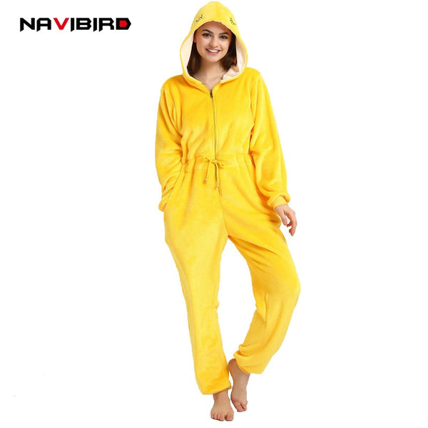 Adult Unicorn Kigurumi Unisex Flannel Zipper Yellow Warbler Cosplay Costume Winter Animal Pajamas Women Cartoon Onesie Jumpsuits - 1sies