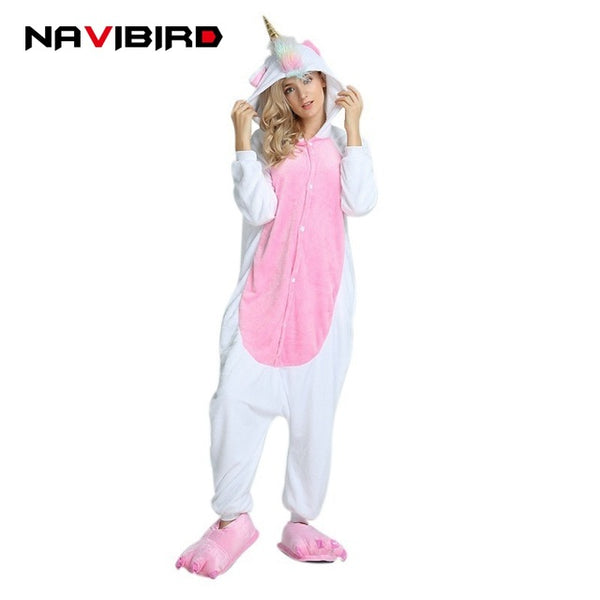 2018 Autumn Red Fish-Scale Unicorn Onesie Cute Animal Pajamas For Women Pijamas Adults Unicornio Kigurumi Cartoon Flannel Pyjama - 1sies