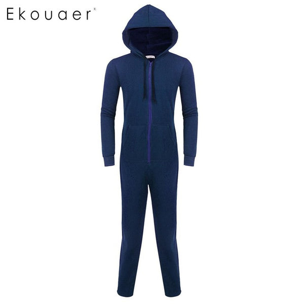 Ekouaer Men Sleepwear One Piece Pajamas Set Long Sleeve Hooded  Zip Front Fleece Lined Pajama Set Adult  Onesies Home Sleepwear - 1sies