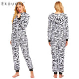 Ekouaer Women Winter Onesie Pajamas Warm Long Sleeve Hooded Striped Leopard Fleece Onesise Pajama Female Sleepwear S-XXL - 1sies