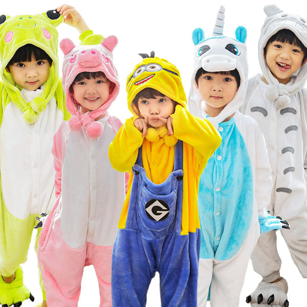 25 Colors Flannel Animal Pajamas Children Kids Unicorn Pajamas Winter Garment Cartoon Unicorn Onesies Pyjamas with Cute Cap - 1sies