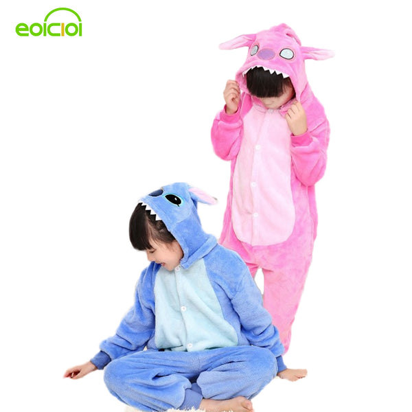 Stitch pajamas for kids totoro cat girls boys christmas pajamas set warm animal onesie children's sleepwear child animal pajamas - 1sies