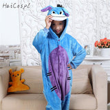 Kids Blue Donkey Pajama Boys Girls Anime Cosplay Costume Kigurumi Disguise Animal Onesie Party Funny Flannel Warm Sleepwear Suit - 1sies